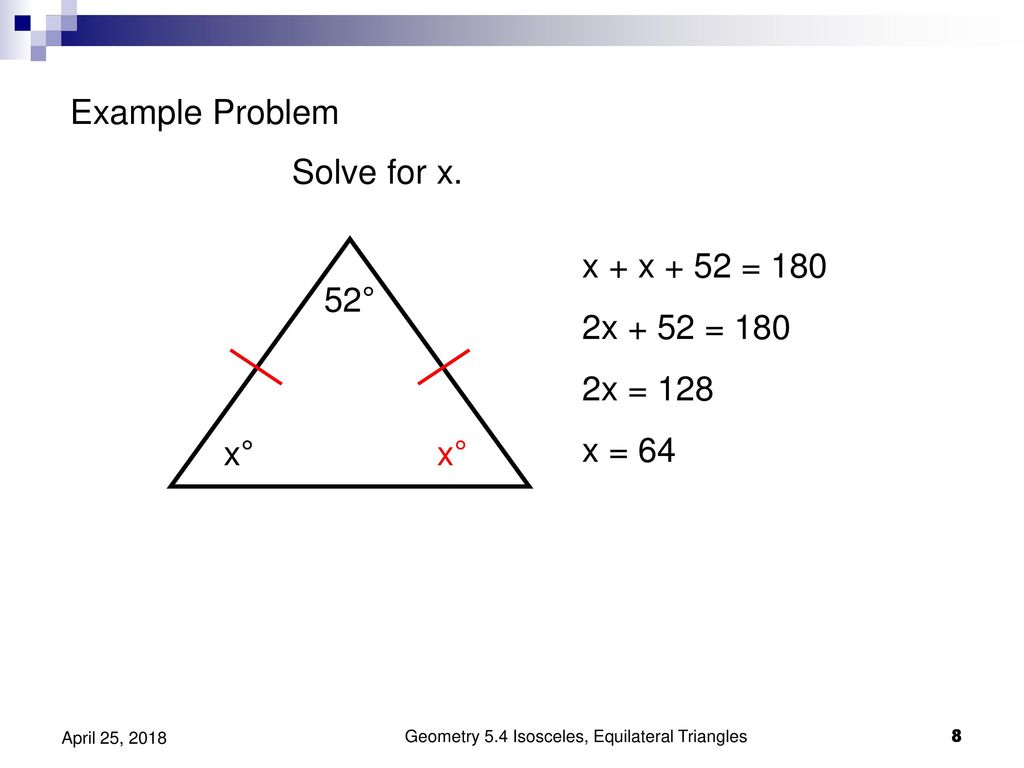 lesson 4-8 problem solving isosceles and equilateral triangles