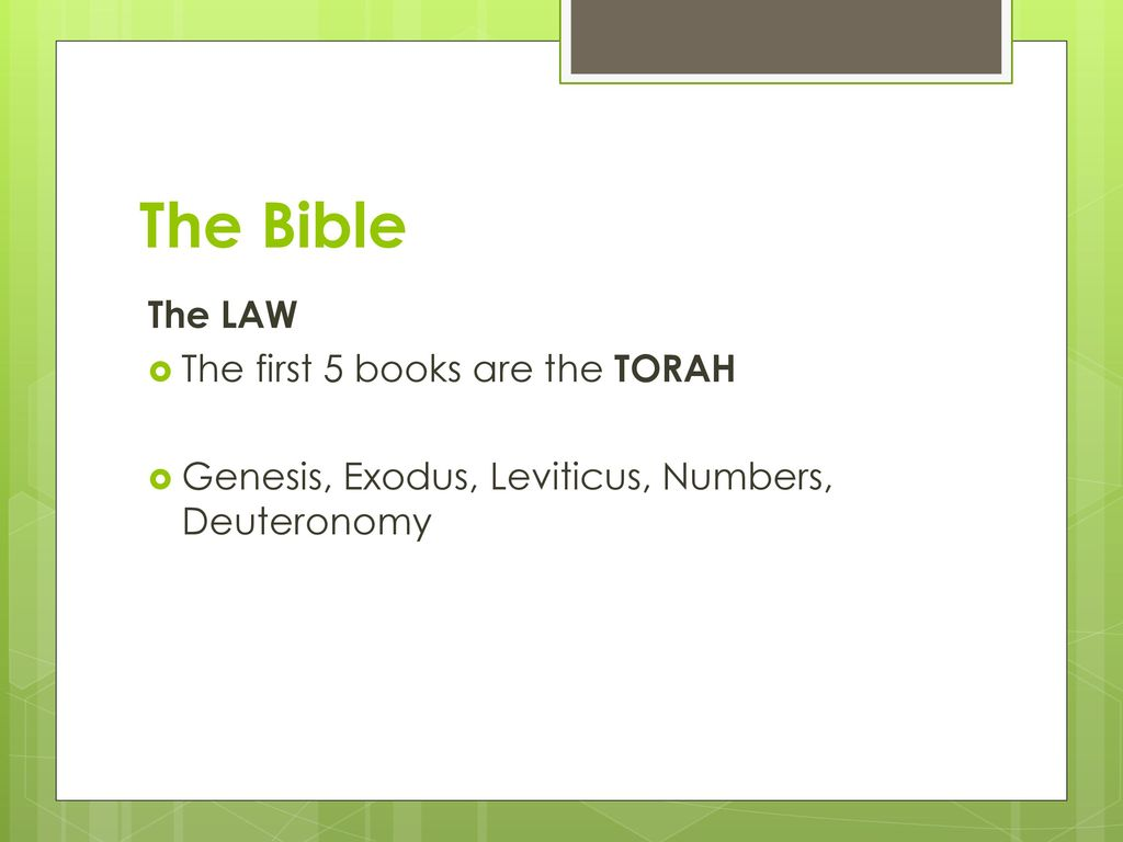 the first 5 books of the bible