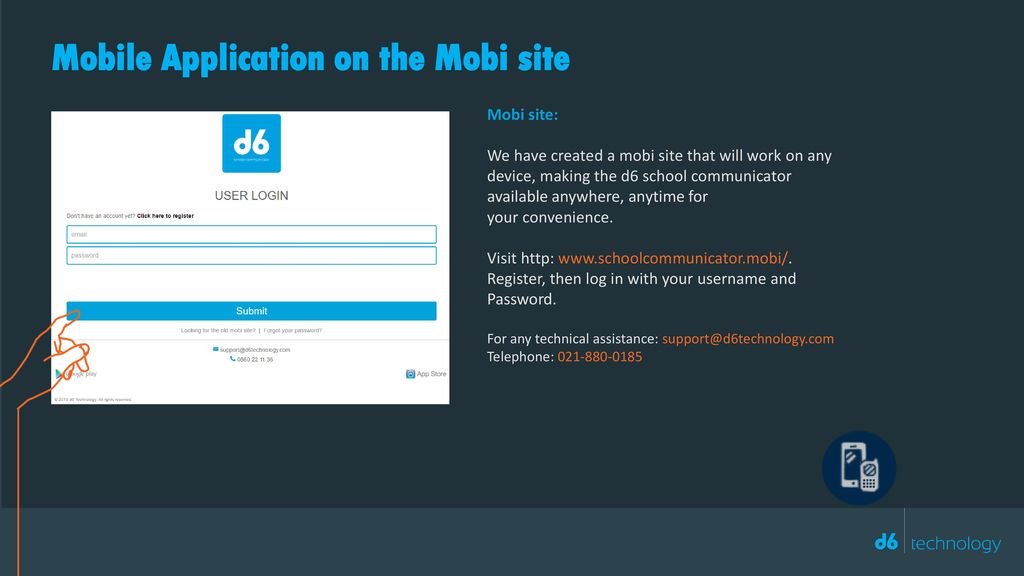 Mobile Application on the Mobi site