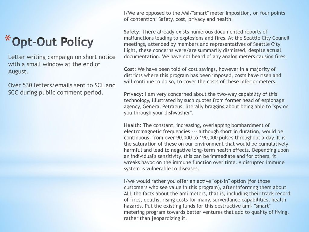 Smart Meter Opt Out Letter.Suma Nw Safe Utility Meters Alliance Northwest Ppt Download