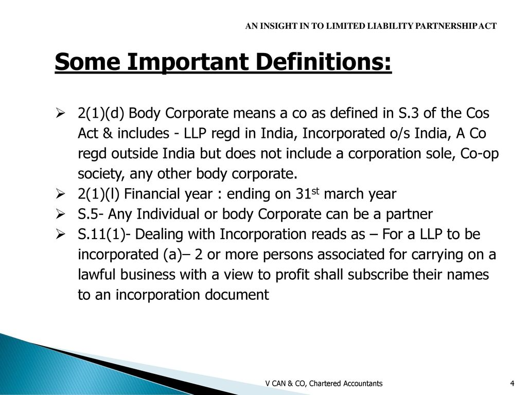 an overview on limited liability partnership act - ppt download