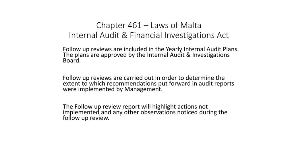 Following Up on Internal Audit Reports (non-financial