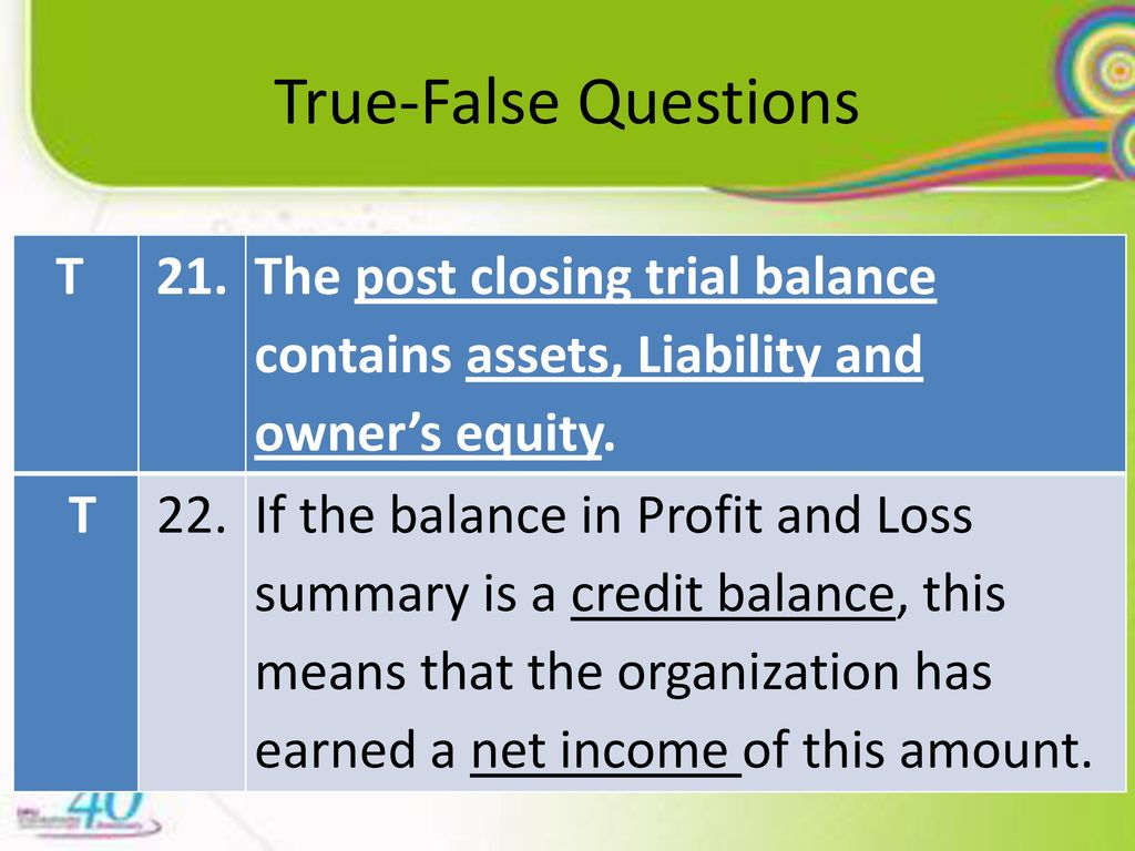 post closing trial balance contains