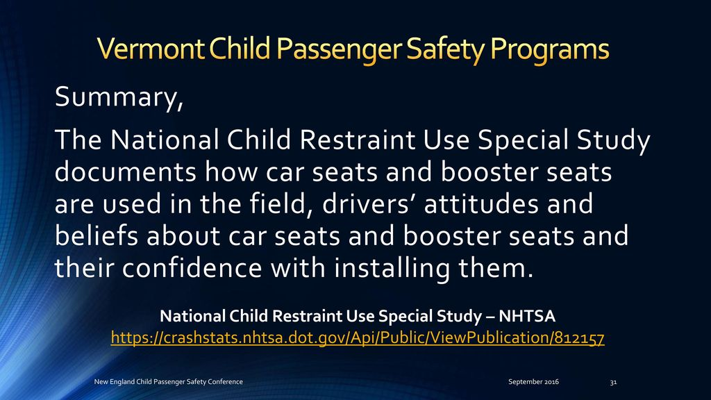 New England Child Passenger Safety Conference September 9th
