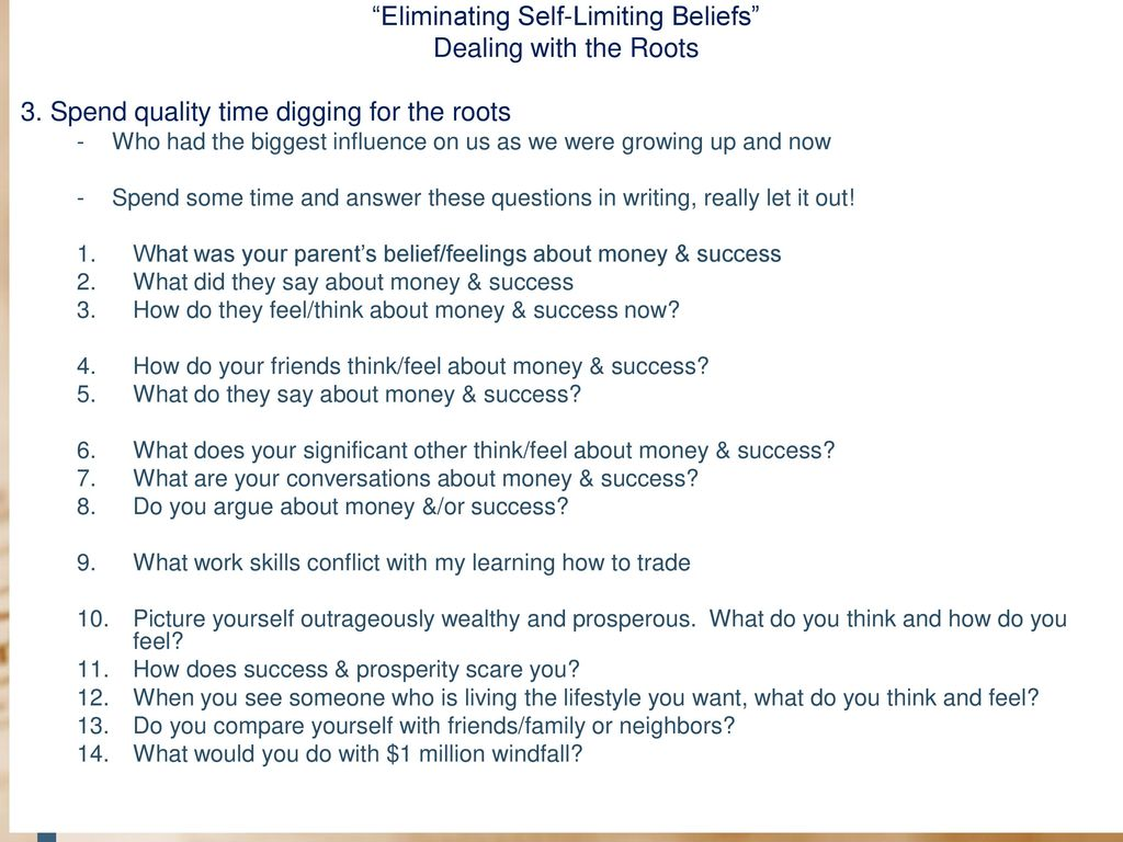 """Eliminating Self-Limiting Beliefs From Your Trading"""" - ppt"""