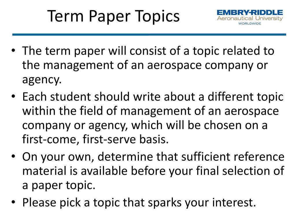management term paper topics