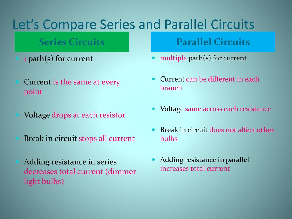 Unit 2 Using Tools Equipment And Other Devices Ppt Download Voltage Drop In A Parallel Circuit Lets Compare Series Circuits