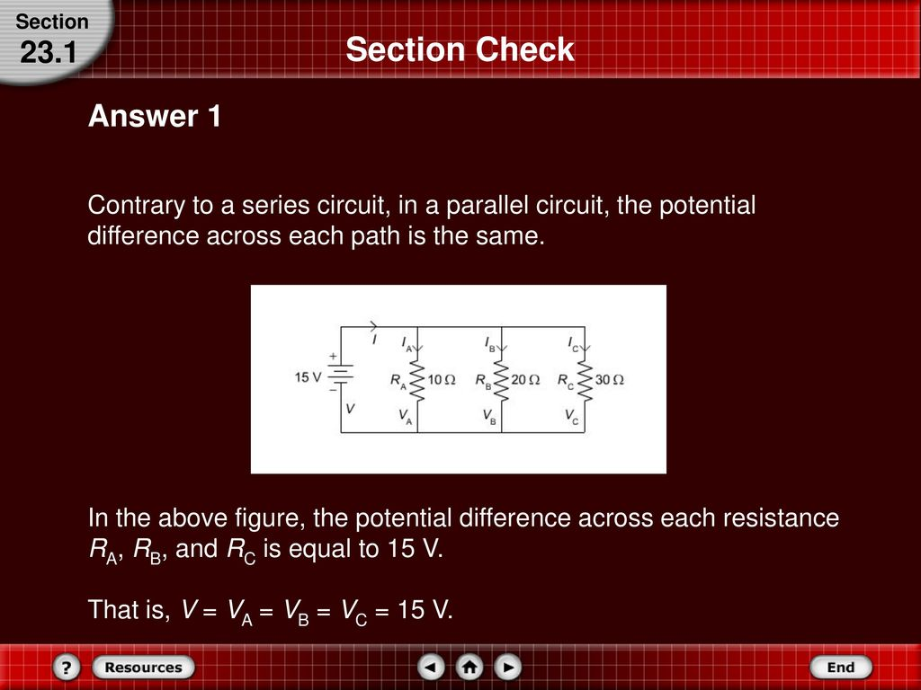 Series And Parallel Circuits Ppt Download Potential Difference In Across A Circuit 60 Section Check 231 Answer 1 Contrary To The