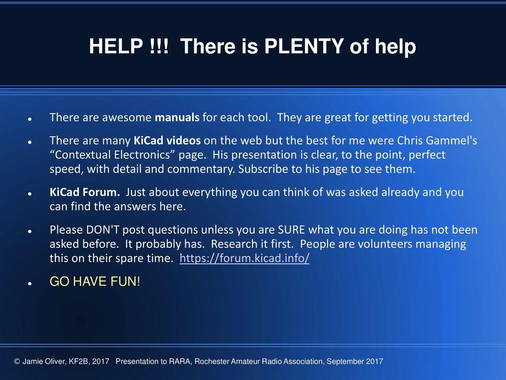 Delete this info page: KiCad Presentation Overview: Original author