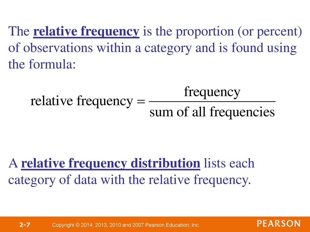 relative frequency distribution formula