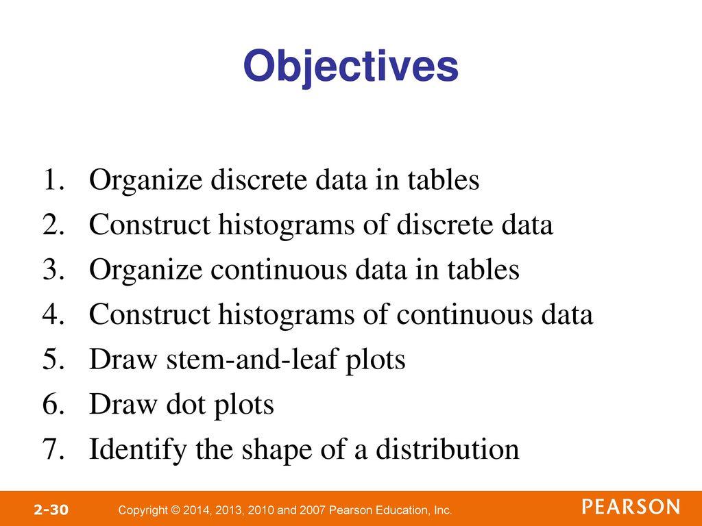 objectives organize discrete data in tables