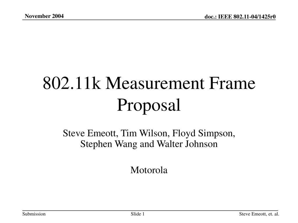 802.11k Measurement Frame Proposal - ppt download