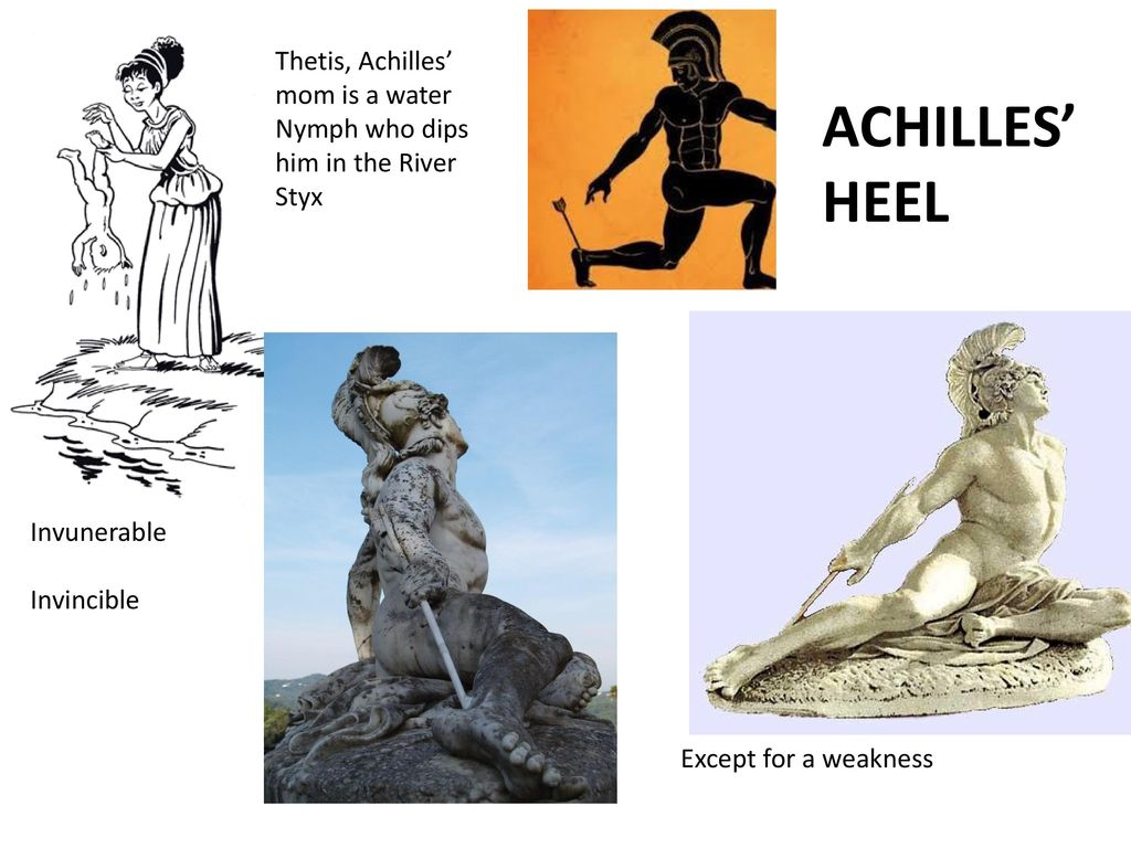 Thetis, Achilles' mom is a water Nymph who dips him in the