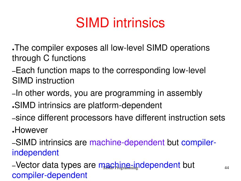 SIMD Programming Moreno Marzolla - ppt download