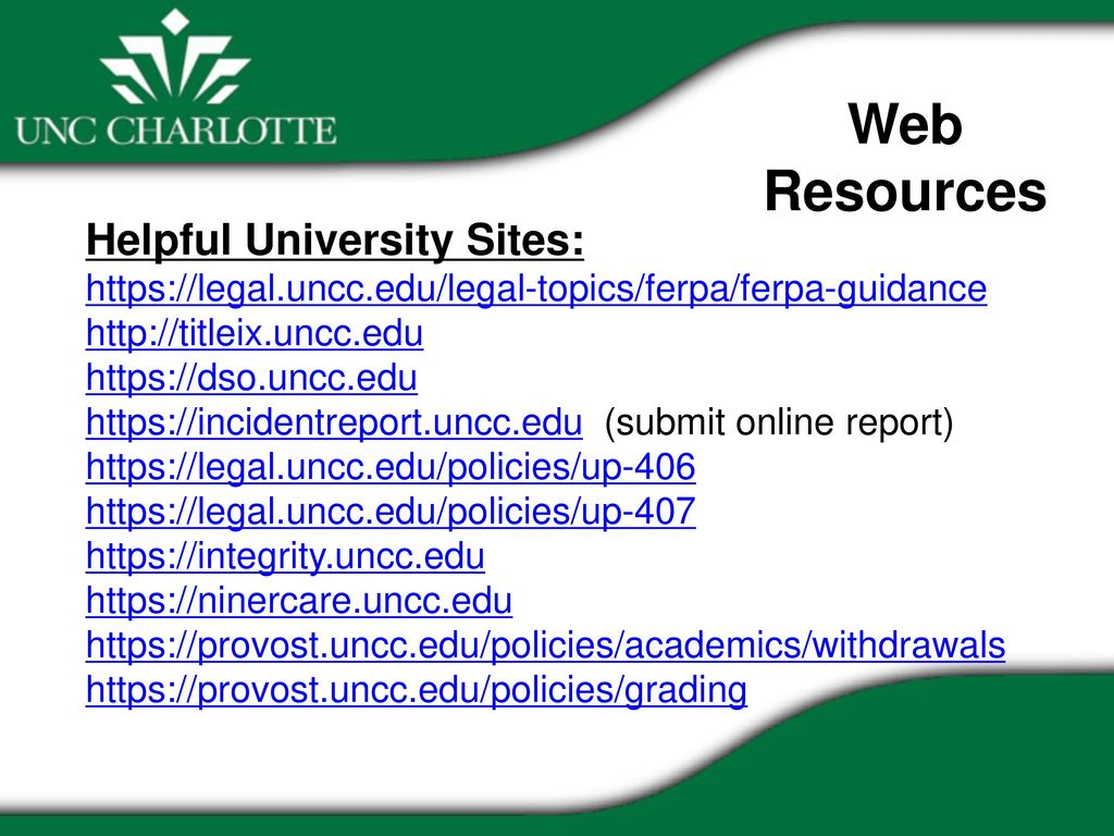 ferpa form uncc  Policies and Procedures Related to Student Issues Christine ...