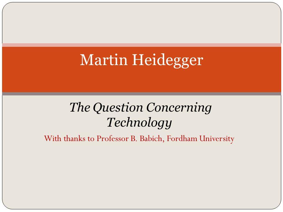 heidegger the question concerning technology