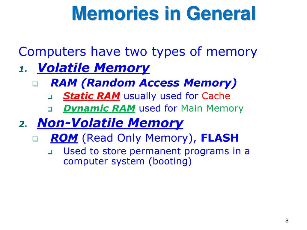 8 Memories In General Computers Have Two Types