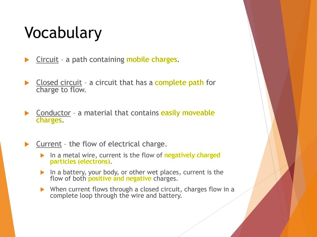 Introduction To Circuits Ppt Download Circuit Is Path That Allows Electricity Flow Through Vocabulary A Containing Mobile Charges