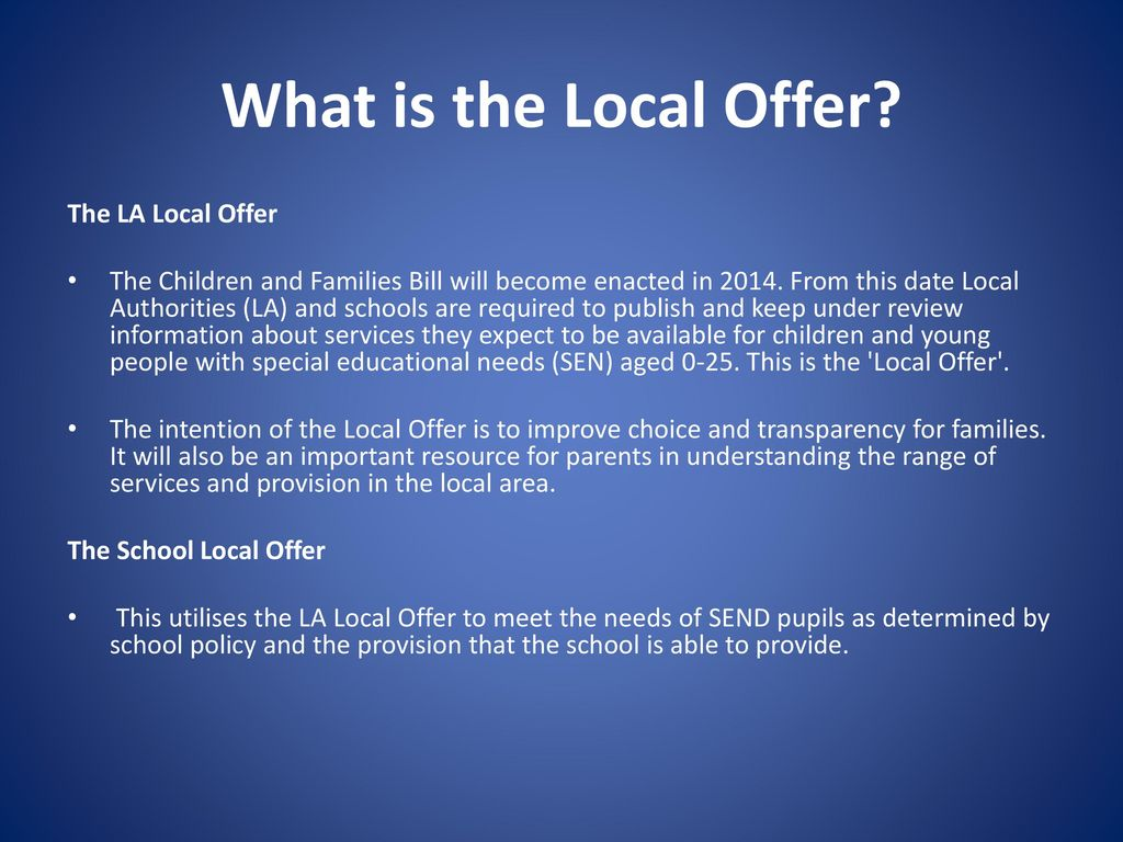 Primary School Local Offer - ppt download
