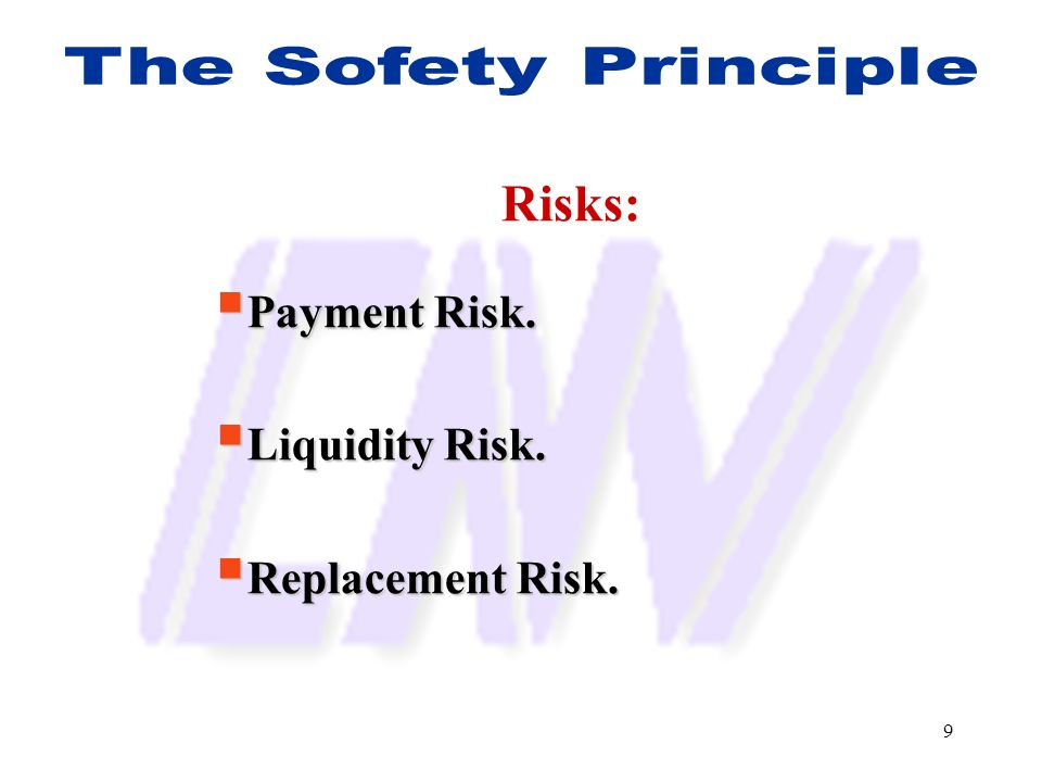 Risks: Payment Risk. Liquidity Risk. Replacement Risk.