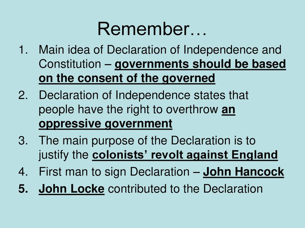 the declaration of independence - ppt download