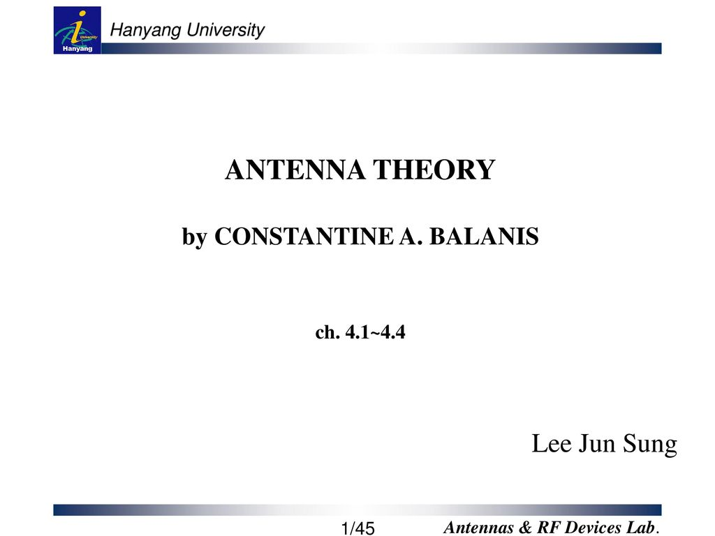 ANTENNA THEORY by CONSTANTINE A  BALANIS ch  4 1~ ppt download