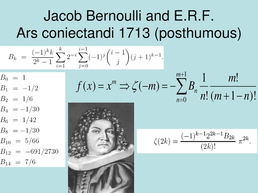 Jacob Bernoulli and E.R.F. Ars coniectandi 1713 (posthumous)