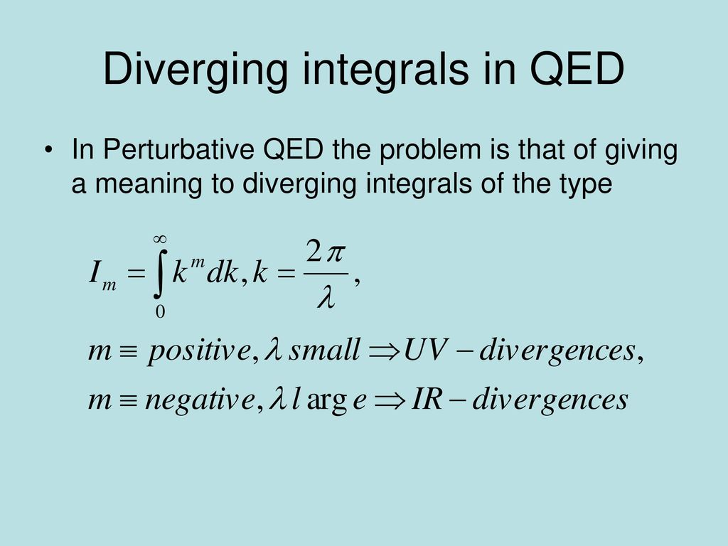 Diverging integrals in QED