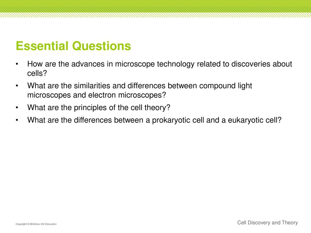 Essential Questions How are the advances in microscope technology related  to discoveries about cells