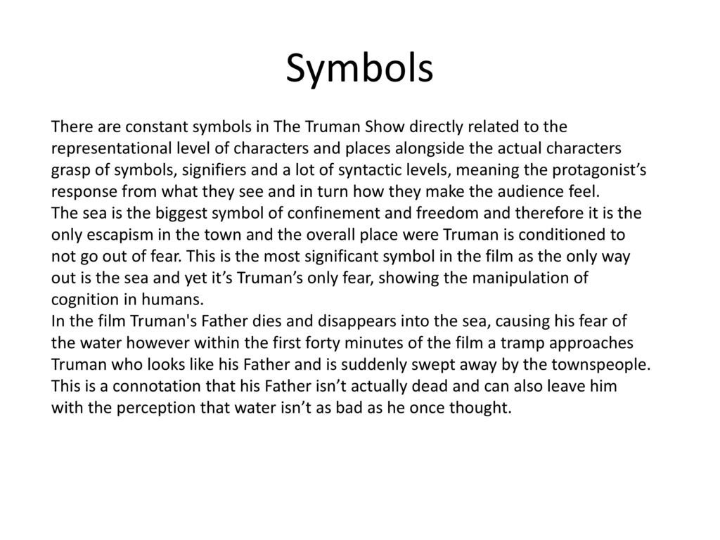 Semiotics Used In The Truman Show Ppt Download