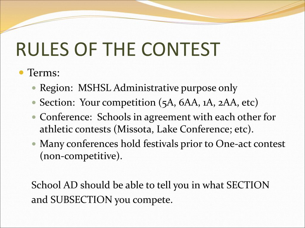 RULES OF THE CONTEST Terms: Region: MSHSL Administrative