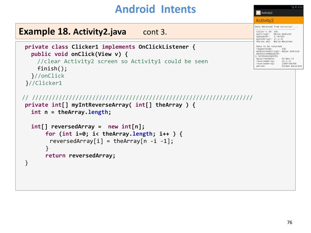 Lesson 10 Android Intents Victor Matos Cleveland State University