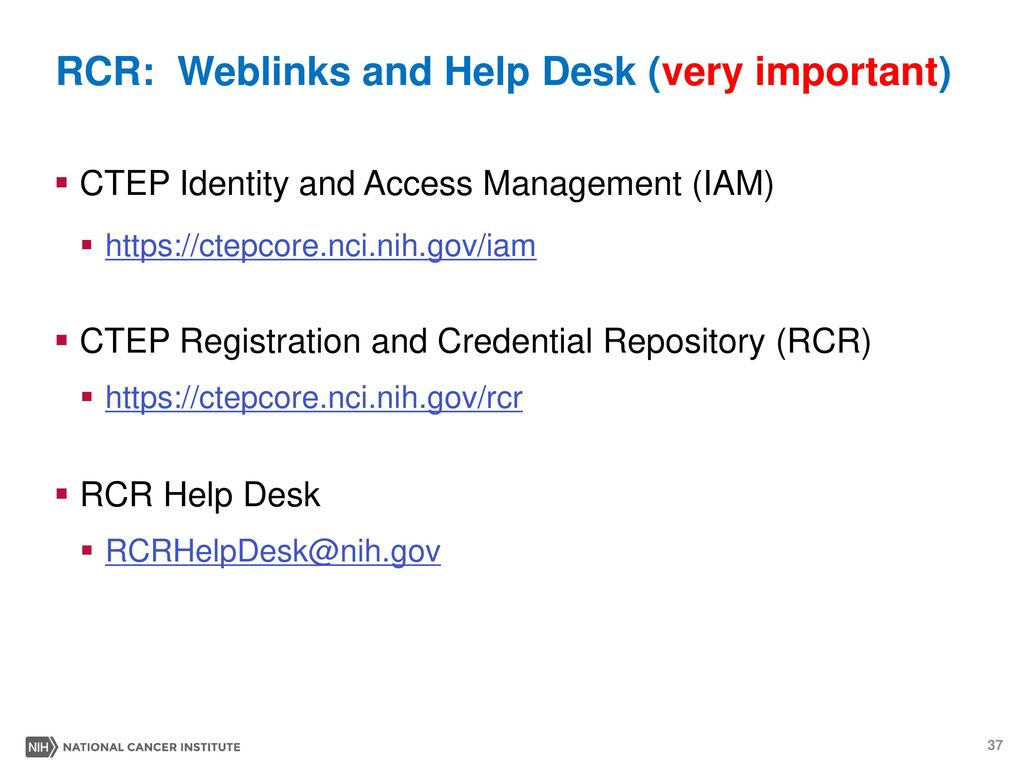RCR: Weblinks And Help Desk (very Important)