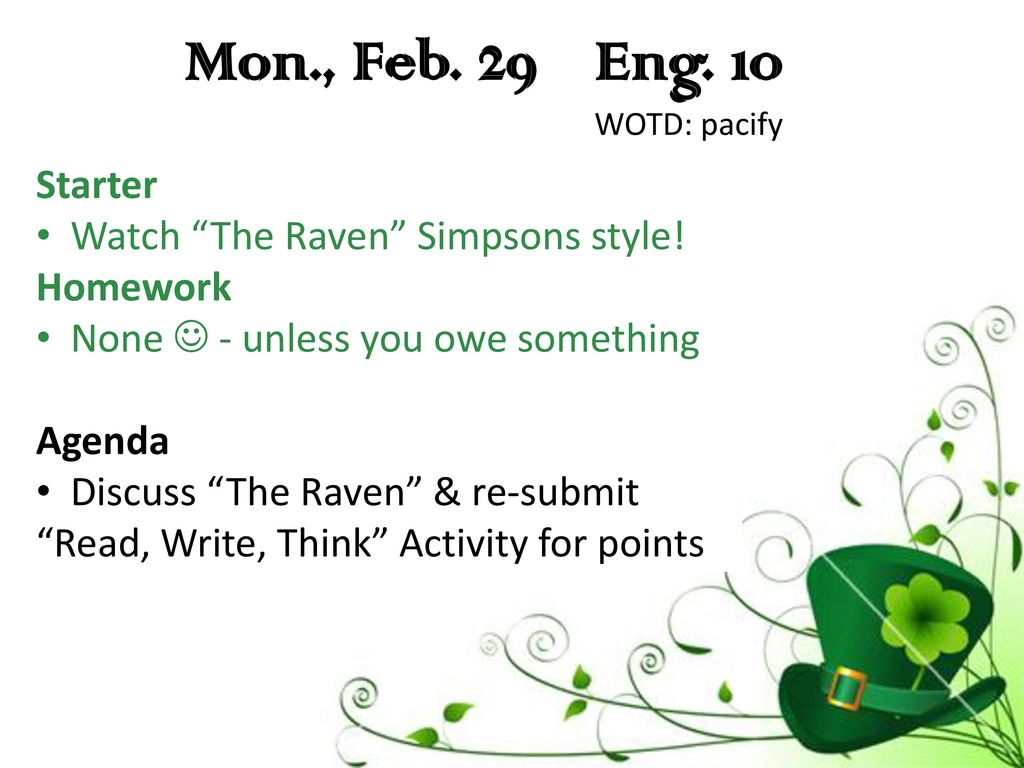 Mon., Feb. 29 Eng. 10-A WOTD: pacify - ppt download