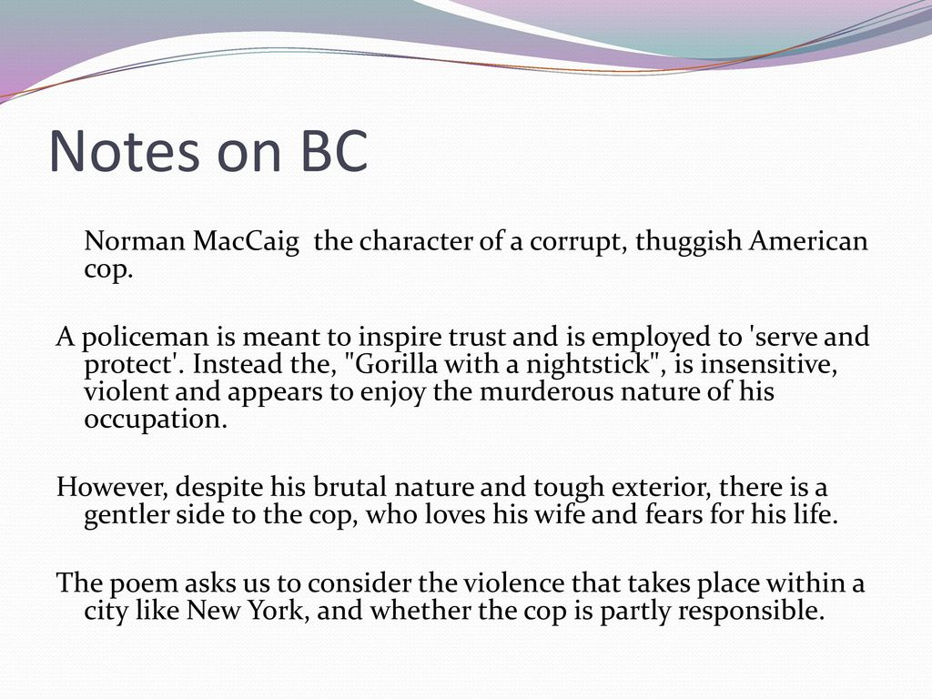 brooklyn cop norman maccaig essay