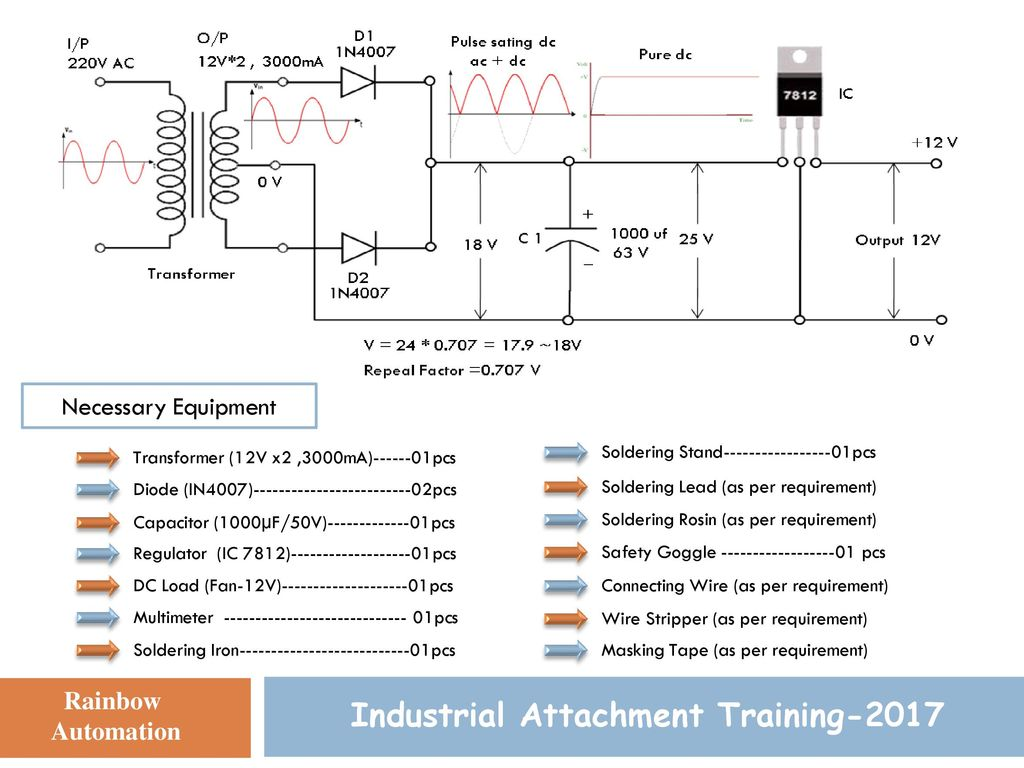 Power Supply Design Industrial Attachment Training 2017 Presented By 18v Bipolar Regulated Circuit Is Shown As Above Diagram Of Fixed 4