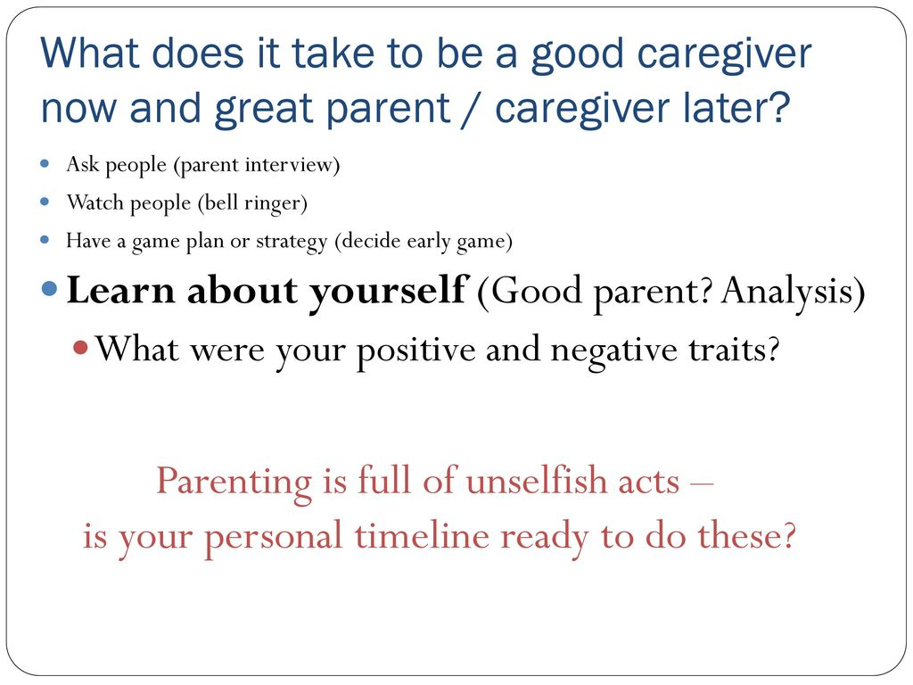 what does it mean to be a good parent