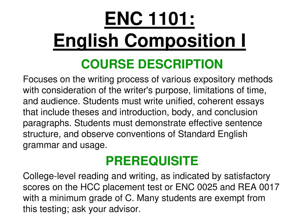 Introduction To Enc 1101 Canvas Overview For Students User