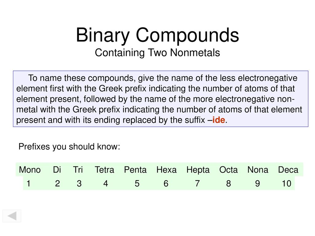 Binary Molecular Compounds - ppt download