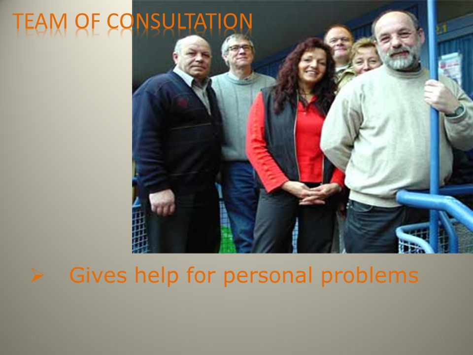 Team of consultation Gives help for personal problems