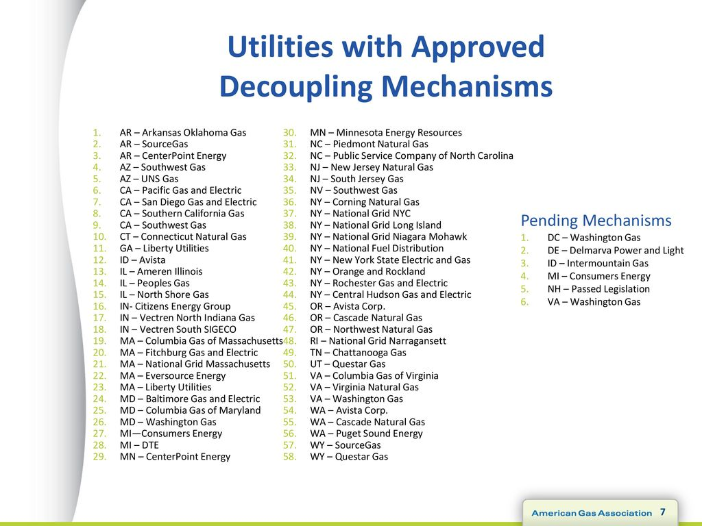 Utilities With Approved Decoupling Mechanisms