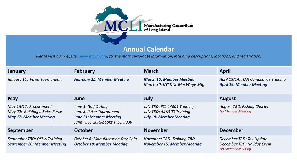 Annual Calendar January February March April May June July August