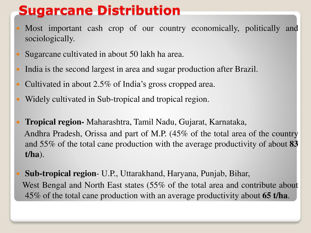 distribution of sugar industry in india