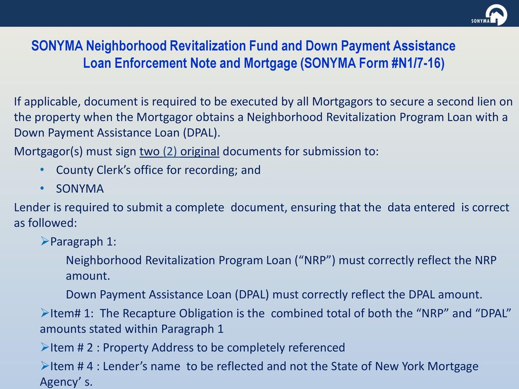 CLOSING AND DELIVERING SONYMA LOANS - ppt download