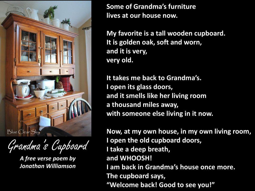 Grandmas Cupboard A Free Verse Poem By Jonathan Williamson Ppt
