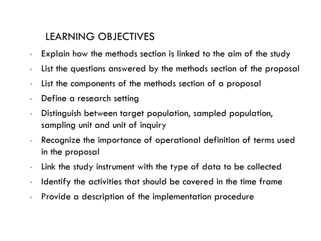research proposal methods section