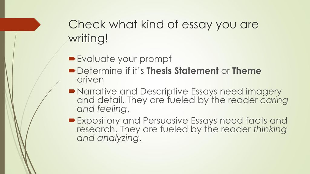 Types Of Essay And Theme  Ppt Download Check What Kind Of Essay You Are Writing Cheapness Business Plan also Example Of Essay With Thesis Statement  Essay On Business Communication