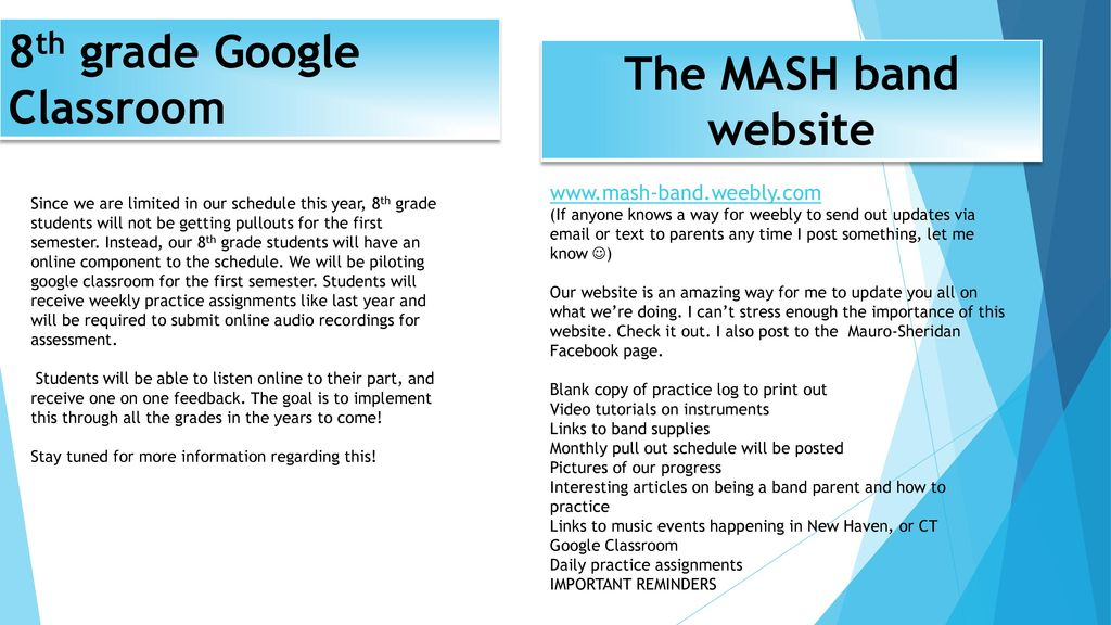 8th Grade Google Classroom The MASH Band Website