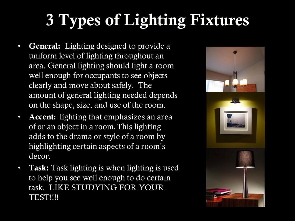 3 types of lighting fixtures