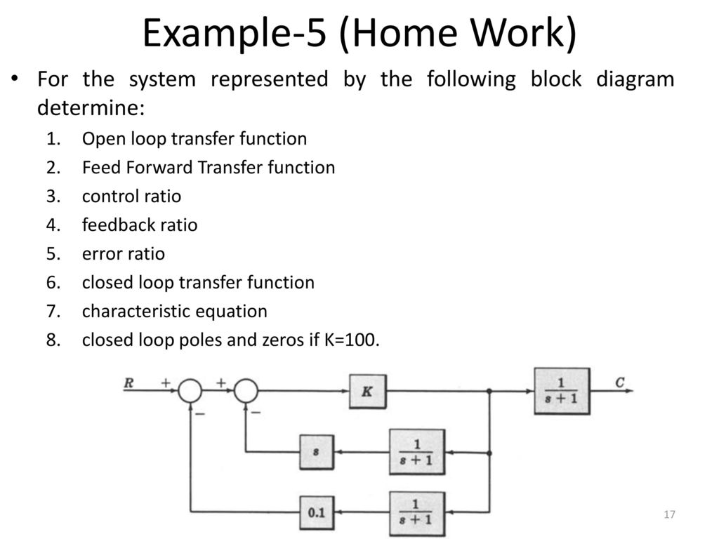 Example-5 (Home Work) For the system represented by the following block  diagram